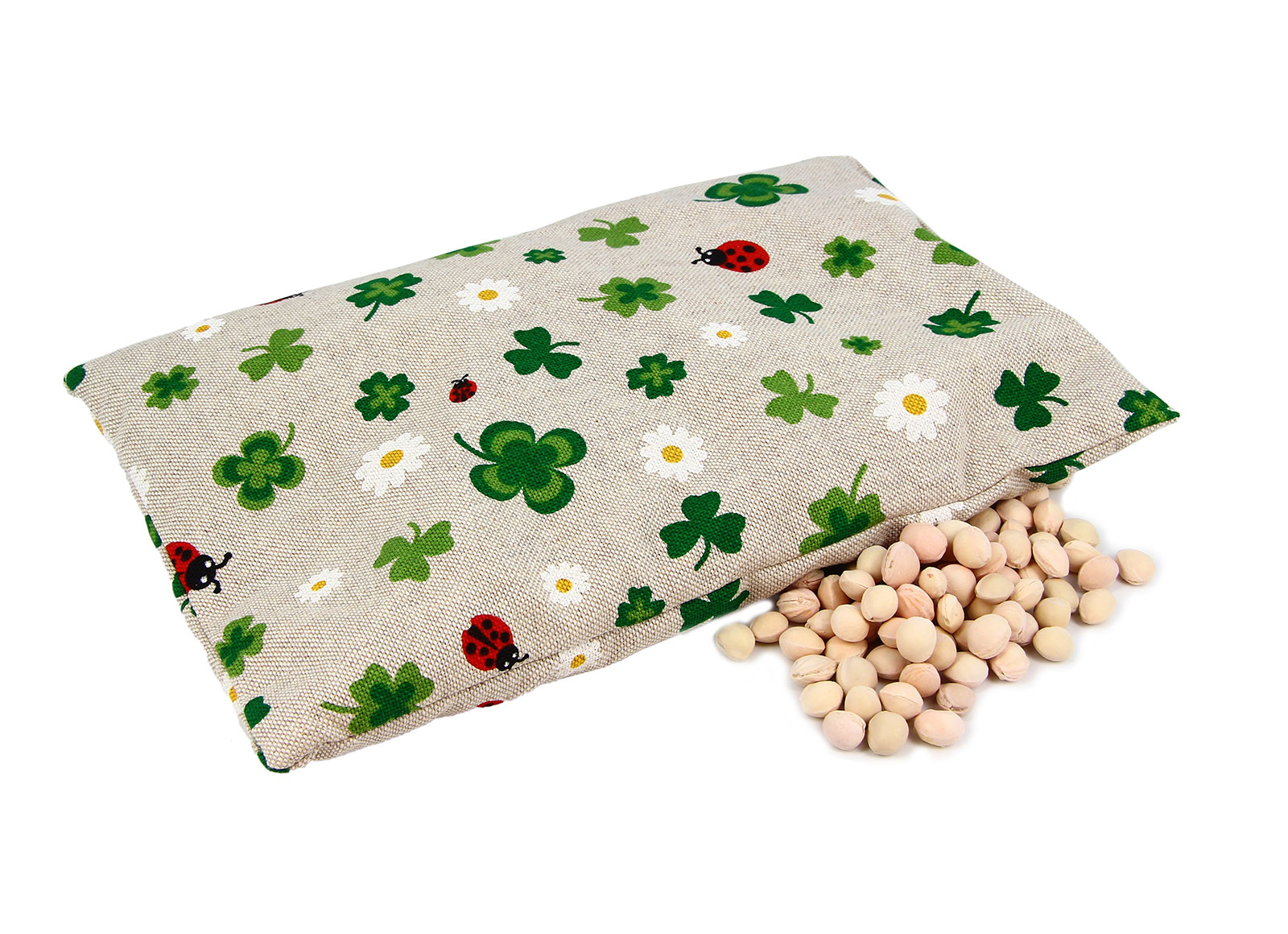 Cuscino con Noccioli di Ciliegio - Quadrifogli e Coccinelle