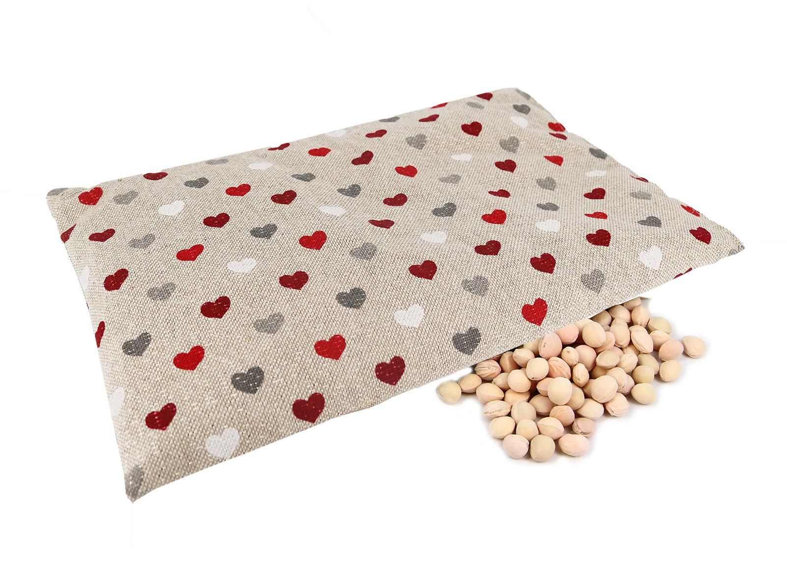 Cuscino con Noccioli di Ciliegio - Cuori Rossi